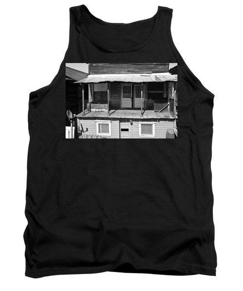 Weathered Home With Satellite Dish Tank Top