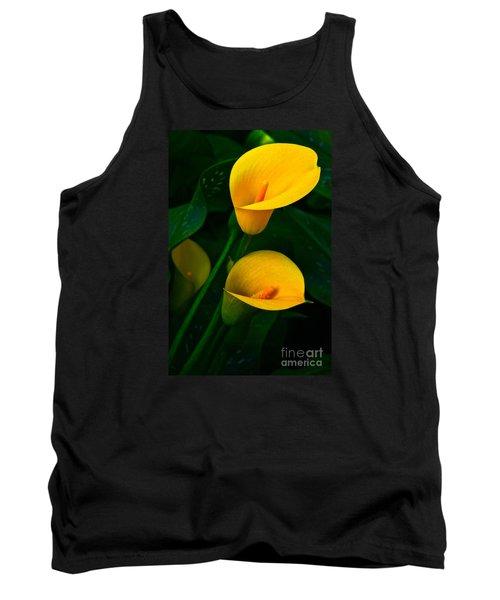Yellow Calla Lilies Tank Top by Byron Varvarigos