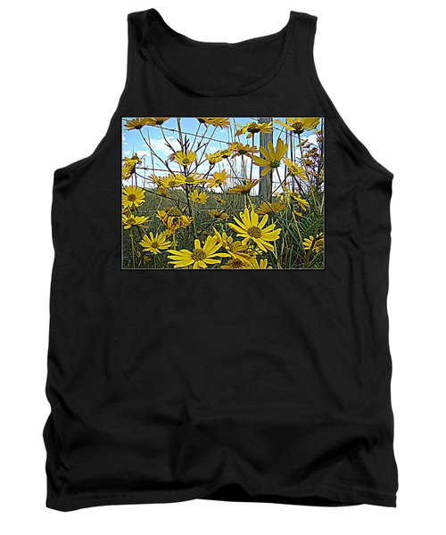 Tank Top featuring the photograph Yellow Flowers By The Roadside by Alice Gipson