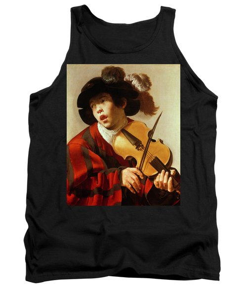 Boy Playing Stringed Instrument And Singing Tank Top