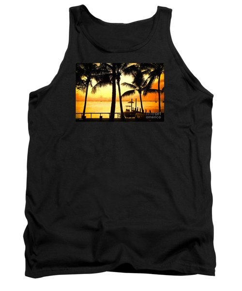 Tank Top featuring the painting  Palm Sunset On The Keys by Judy Kay