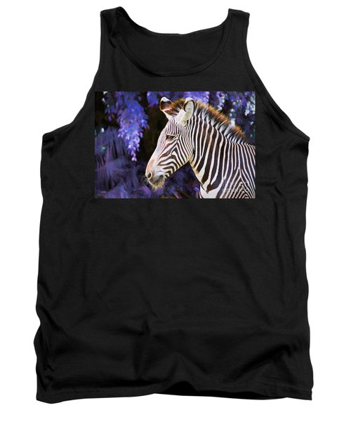 Tank Top featuring the painting  Zebra Portrait by Judy Kay
