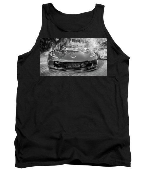Tank Top featuring the photograph 2017 Chevrolet Corvette Gran Sport Bw by Rich Franco