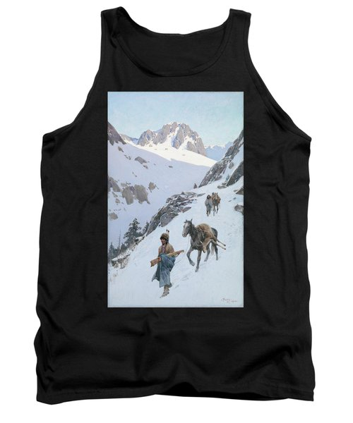 Tank Top featuring the drawing A Successful Hunt by Henry Francois Farny