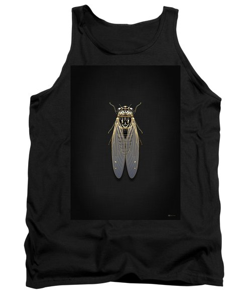 Black Cicada With Gold Accents On Black Canvas Tank Top