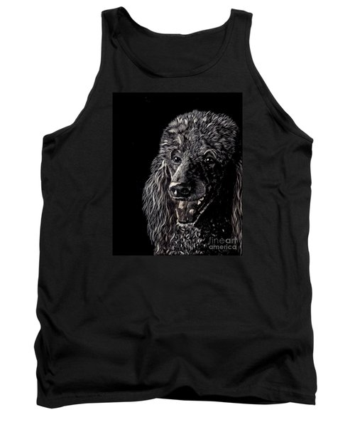 Tank Top featuring the drawing Black Standard Poodle by Terri Mills