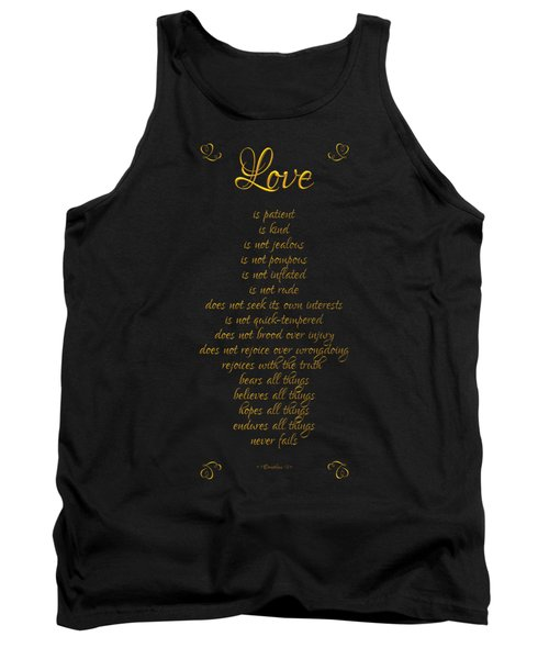 1 Corinthians 13 Love Is Black Background Tank Top by Rose Santuci-Sofranko