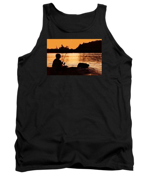 Fishing From A Rock  Tank Top by Lyle Crump