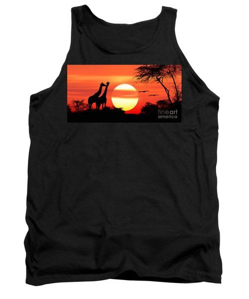 Giraffes At Sunset Tank Top