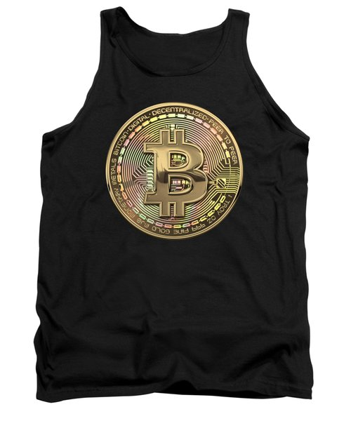 Gold Bitcoin Effigy Over Black Canvas Tank Top