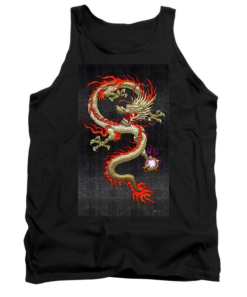 Golden Chinese Dragon Fucanglong  Tank Top by Serge Averbukh