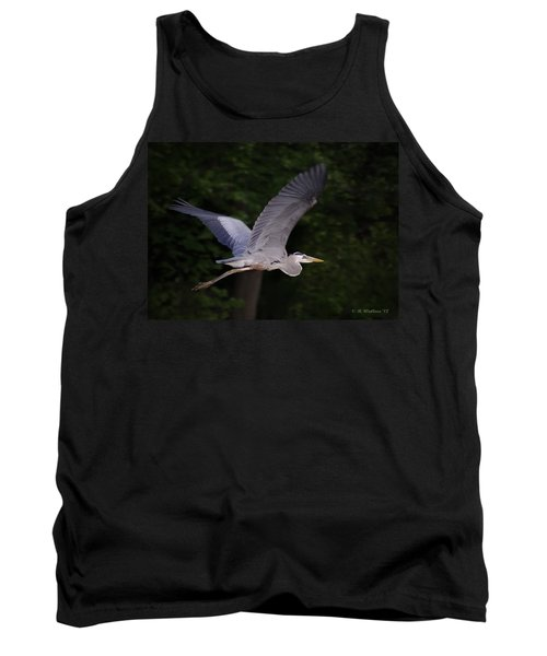 Great Blue Heron In Flight Tank Top by Brian Wallace