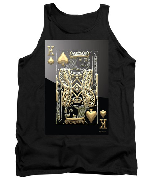 King Of Spades In Gold On Black   Tank Top