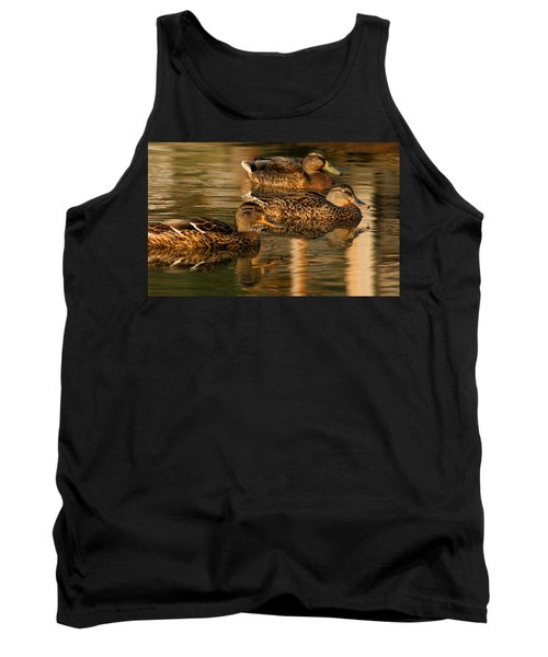 Mallards Swimming In The Water At Magic Hour Tank Top