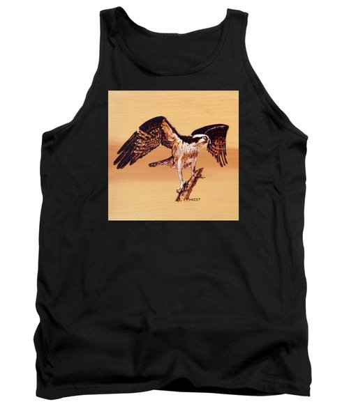 Tank Top featuring the pyrography Osprey by Ron Haist