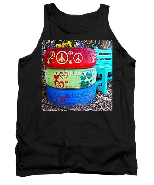 #peace, #love, #chuy's And #happy Tank Top