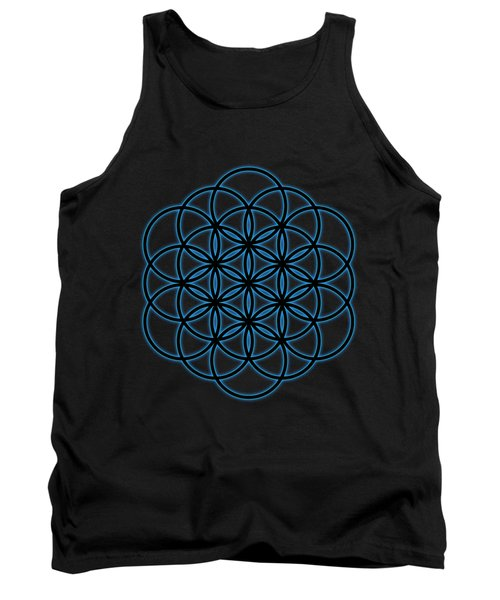Sacred Geometry - Black Flower Of Life - Seed Of Life With Blue Halo Over Black Canvas Tank Top