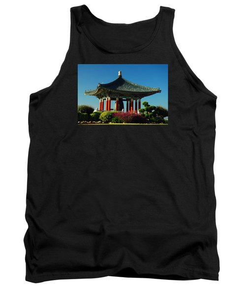 Tank Top featuring the photograph San Pedro Korean Peace Bell by James Kirkikis