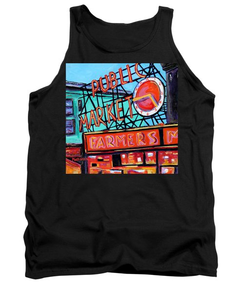 Tank Top featuring the painting Seattle Public Market by Marti Green