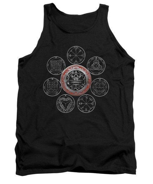 Silver Seal Of Solomon Over Seven Pentacles Of Saturn On Black Canvas  Tank Top