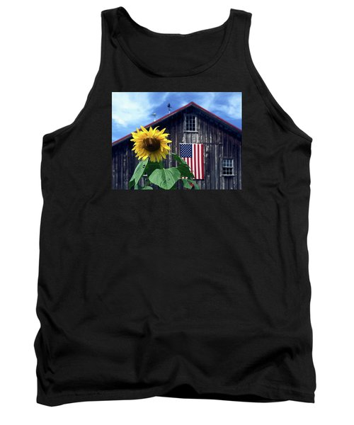 Sunflower By Barn Tank Top by Sally Weigand