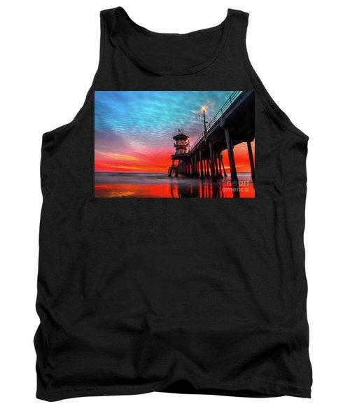 Sunset At Huntington Beach Pier Tank Top