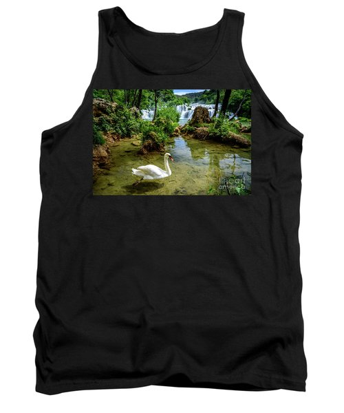 Swan In The Waterfalls Of Skradinski Buk At Krka National Park In Croatia Tank Top