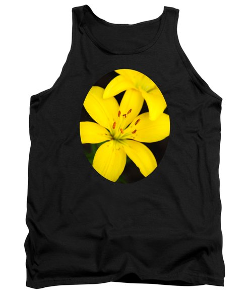 Yellow Lily Flower Tank Top by Christina Rollo