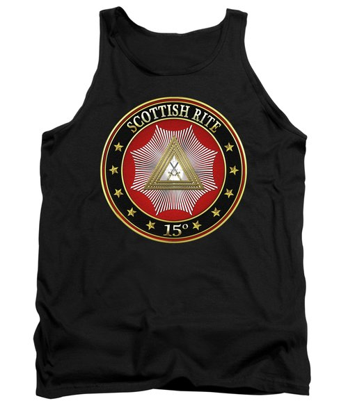 15th Degree - Knight Of The East Jewel On Black Leather Tank Top by Serge Averbukh