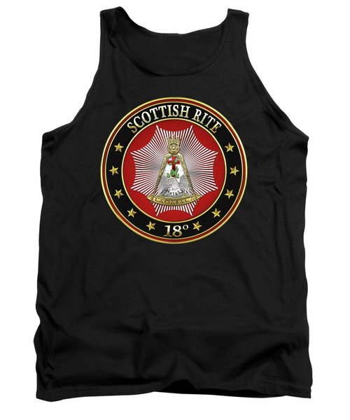 18th Degree - Knight Rose Croix Jewel On Black Leather Tank Top by Serge Averbukh