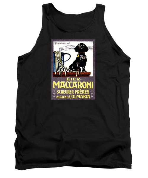 1910 Dachshund And Macaroni Poster    Tank Top by Historic Image