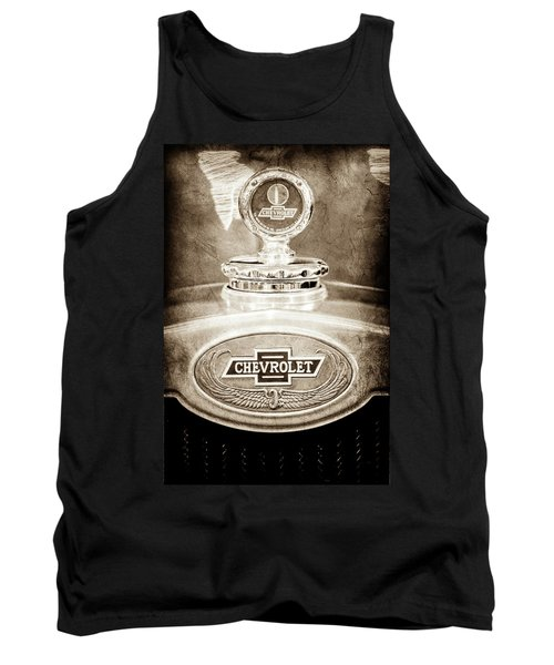 Tank Top featuring the photograph 1928 Chevrolet 2 Door Coupe Hood Ornament Moto Meter -0789s by Jill Reger