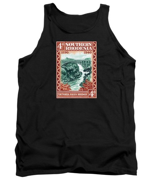 Tank Top featuring the painting 1940 Southern Rhodesia Victoria Falls Bridge  by Historic Image