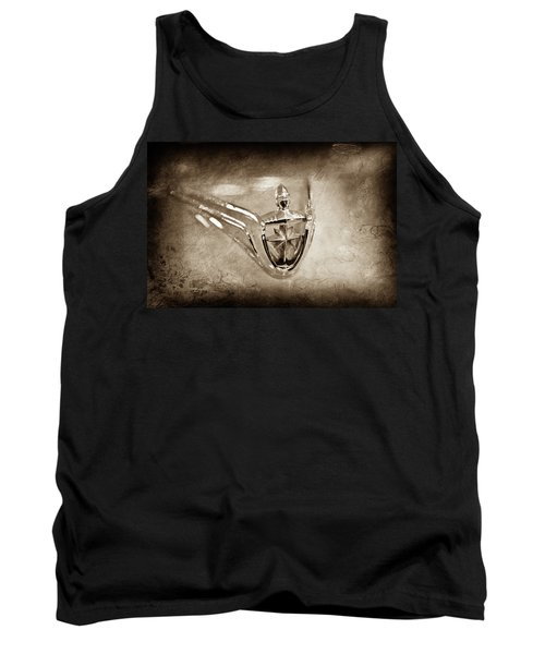 Tank Top featuring the photograph 1956 Lincoln Premier Convertible Hood Ornament -0832s by Jill Reger
