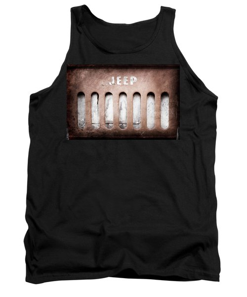 Tank Top featuring the photograph 1957 Jeep Emblem -0597ac by Jill Reger