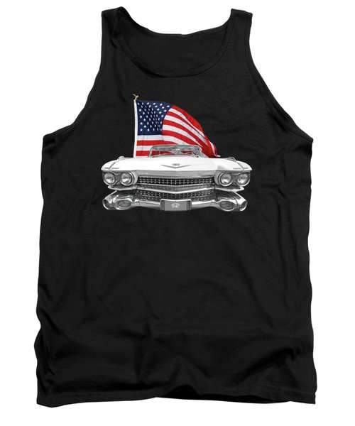 Tank Top featuring the photograph 1959 Cadillac With Us Flag by Gill Billington