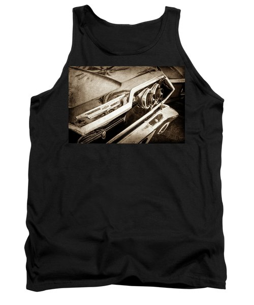 Tank Top featuring the photograph 1963 Chevrolet Taillight Emblem -0183s by Jill Reger