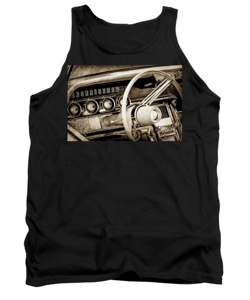 Tank Top featuring the photograph 1964 Ford Thunderbird Steering Wheel -0280s by Jill Reger