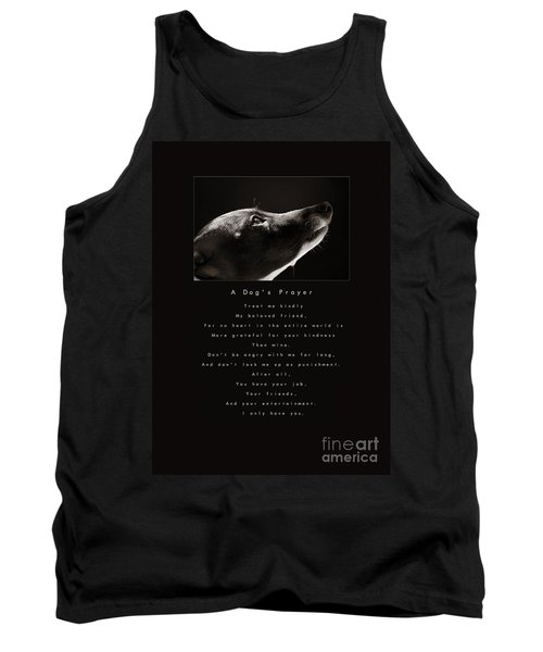 A Dog's Prayer  A Popular Inspirational Portrait And Poem Featuring An Italian Greyhound Rescue Tank Top