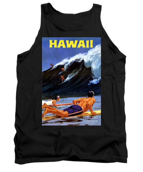 Hawaii Vintage Travel Poster Restored Tank Top