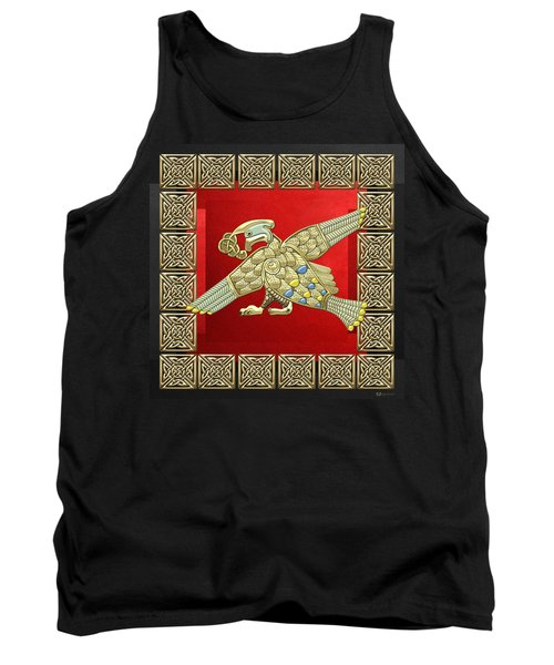Sacred Celtic Bird On Red And Black Tank Top