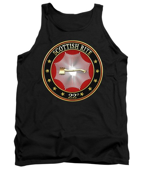 22nd Degree - Knight Of The Royal Axe Jewel On Black Leather Tank Top by Serge Averbukh