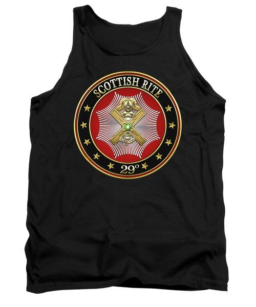 29th Degree - Scottish Knight Of Saint Andrew Jewel On Black Leather Tank Top by Serge Averbukh