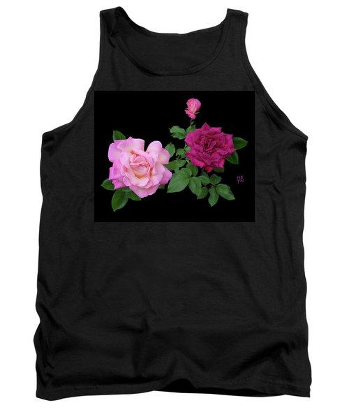 3 Pink Roses Cutout Tank Top