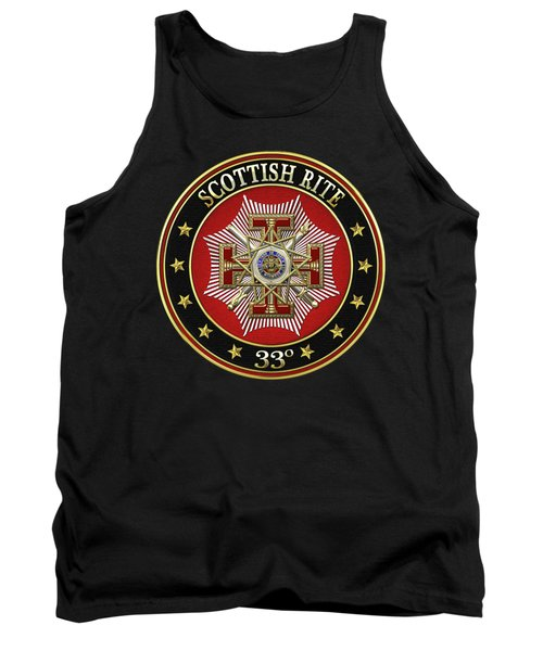 33rd Degree - Inspector General Jewel On Black Leather Tank Top by Serge Averbukh