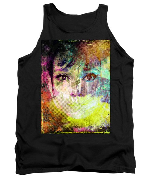 Tank Top featuring the mixed media Audrey Hepburn by Svelby Art