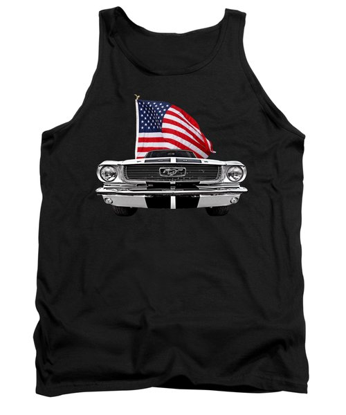 66 Mustang With U.s. Flag On Black Tank Top