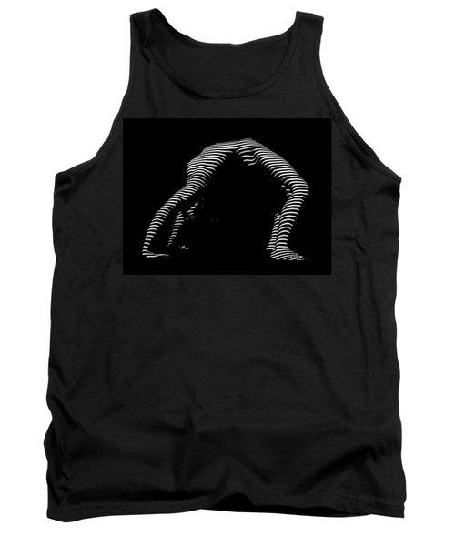 9454-dja Back Bend Yoga Zebra Girl Striped Curves Black White Photograph By Chris Maher Tank Top by Chris Maher