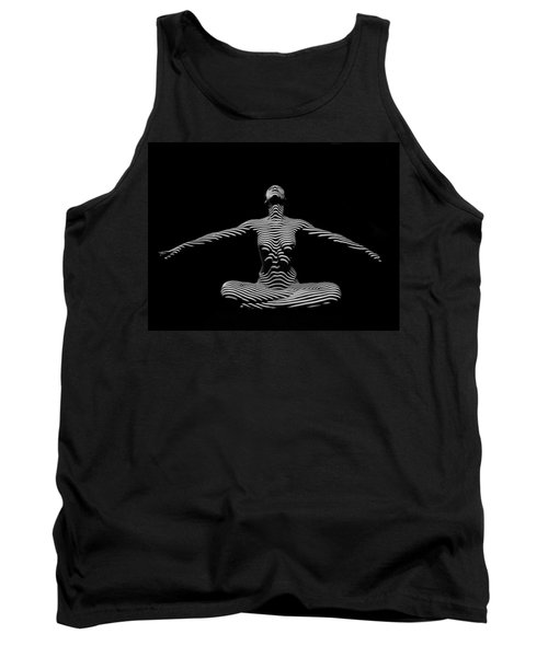 9928-dja Zebra Striped Woman Lotus Arms Out Abstract Black And White By Chris Maher Tank Top