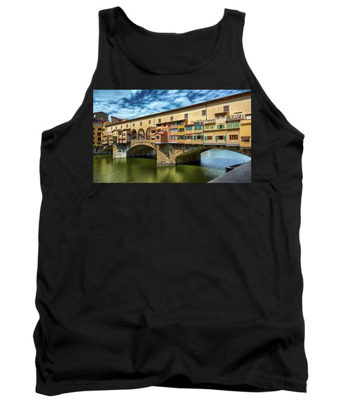 Ponte Vecchio On The Arno River Under A Blue Sky In Florence, Italy Tank Top
